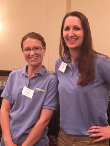 From left, Lana Barkman and Melissa Reed discussed their farming operations with dietitians during the event